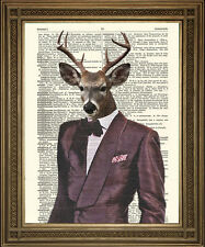 "DANDY DEER: Vintage Suit & Bow Tie Stag, Fun Dictionary Art Print (10x8"")"