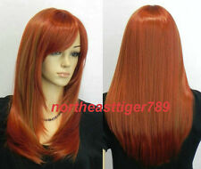 Hot Sell New Fashion Long Orange Red Straight Women's Lady's Hair Wig Wigs + Cap
