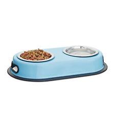Doppelnapf blau, Futterstation für Katzen, Fressnapf für kleine Hunde, Napfset