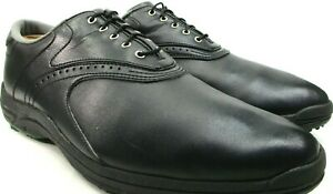 Foot Joy Men Leather Golf Shoes Size 11.5M Black Style 45462 Fabric Lined China