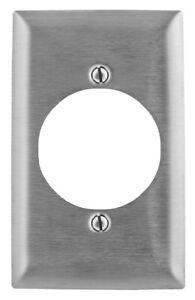 Hubbell SSJ723 1-Gang Single Receptacle Wallplate 302/304 Stainless Steel