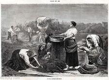 RACCOLTA DELLA COLZA, di Breton. Tipi. Costumi. Capolavoro. Stampa Antica. 1861
