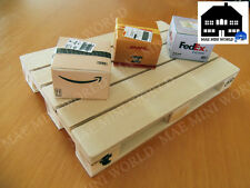 10pcs Cardboard Shipping Parcel Boxes with miniature wood pallet. Scale 1:12.