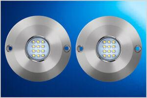 2 x 60 Watt Underwater Boat / Fishing lights S/Steel Flush mount Blue
