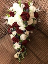 Scottish Wedding Flowers Bride's Bouquet Thistles, Burgundy & White Roses