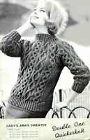 """Vintage Knitting Pattern Copy Ladies Chunky Cable Aran Sweater Jumper Top 34-38"""""""