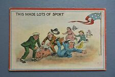 R&L Postcard: American Card People Chasing Pig Sport, U.S. Flag Pole