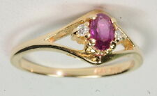 Diamond Right Hand Gemstone Estate Ring 14K Yellow Gold 1/3Ct Ruby &