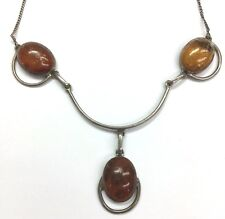 Vintage Oxidized Silver 925 Genuine Baltic Amber Wave Choker Collar Necklace