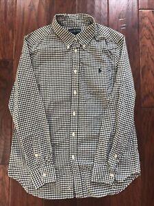 Ralph Lauren Long Sleeve Small Green / Off White Button Down Shirt Boy's L 14-16