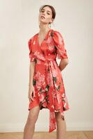 KEEPSAKE THE LABEL THIS MOMENT ORANGE RED FLORAL WRAP DRESS S NWT