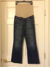 "A PEA IN THE POD MATERNITY JEANS SIZE 28 STRAIGHT DARK WASHED DISTRESSED  28"" IN"