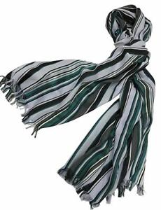 Paul Smith Ladies Huge greens & greys Striped  Scarf 190 x 75cm