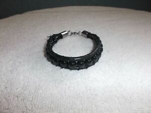 men -  black agate leather and stainless steel bracelet 8.50 inch long