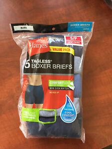 Hanes Boxers Briefs Underwear Men's Size Small 28-30 Comfort Soft 5 Pair Pack