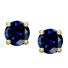 4 Ct Sapphire Stud Earrings Round Cut Solitaire Earrings 14K Yellow Gold Silver
