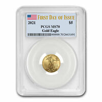 2021 1/10 oz American Gold Eagle MS-70 PCGS (First Day of Issue) - SKU#221549