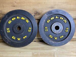 Golds Gym Standard Weight 10 LB Plates ( Set of 2 ) *20 LB * 1in Vintage