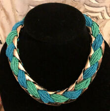 Slight Crackle Gold Tone with Teal Beads Choker Fashion Necklace N-19