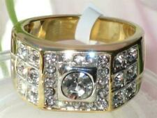 Cubic Zirconia Yellow Gold Plated Rings for Men
