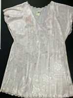 NWT VTG Miss Elaine Large Pink Scalloped Hem Floral Roses Nightshirt Nightgown