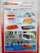Preiser 17312 - H0 Figuren 1:87 - 3 Schlauchboote. 2 Anhänger - NEU in OVP
