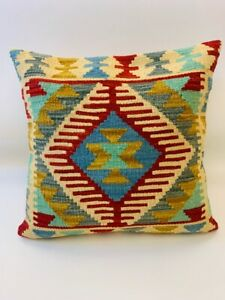 Vintage Red Multi Coloured Antique Cushion Cover of Afghan Handmade Wool Kilim