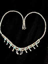 Native American Sterling Silver Mini Squash Blossom Turquoise Necklace Naja 16.5