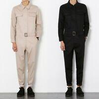 Men One-Piece Dress Long Sleeve Zip Up Jumpsuit Playsuit Overalls Workwear Pants
