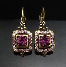 SWAROVSKI Antique Lantern Amethyst Purple Crystal Earring Wedding Gold Square