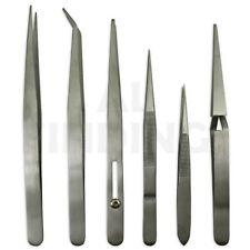 Tweezers set 6 stainless steel non magnetic watch jewellery craft tools