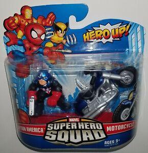Marvel Super Hero Squad CAPTAIN AMERICA & MOTORCYCLE Figure 2 Pack Hasbro 2009