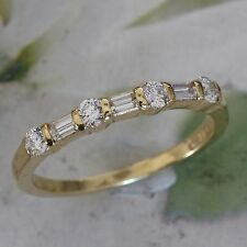 Tiffany and Co. Wedding Band Round and Emerald Cut 18k Yellow Gold Ring 0.36 tcw