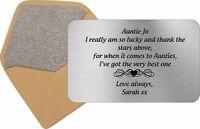 Personalised Best Auntie Keepsake Card Purse Insert Birthday Gift Xmas