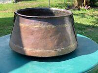 Monumental Antique Dovetailed Cauldron Pot Kettle Forged Bands Handles 27Pounds