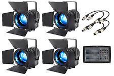 4 X Elumen 8 MP75 RGBW DEL Fresnel Light Bundle Inc. DMX cables & éclairage Bureau