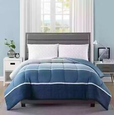 """4 Pc Ellison """"NEWPORT NAVY"""" Reversible 2-Looks Bed-In-A-Bag ~ Twin 66 x 86 NEW"""
