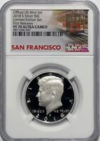 2018 S PROOF SILVER KENNEDY LIMITED EDITION SET NGC PF70 FIRST RELEASES TROLLEY