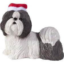 SHIH TZU Silver White Ornament Santa Hat NEW Christmas Sandicast Dog Hand Cast