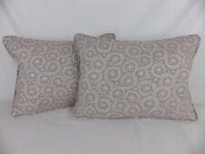 Grey GP & J Baker Lifestyle Foxy Opal Leaf Fabric 2 Lumbar Pillow Cushion & Pads