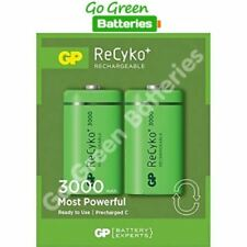 2 x GP Recyko C Size 3000 mAh Rechargeable Batteries, NiMH HR14, Ready to use