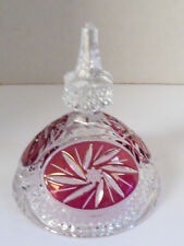 VTG Cut Clear & Ruby Red Crystal Glass Lid only part