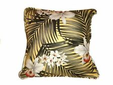 "Custom Made 20"" Square Pillow Slipcover Big Kahuna Fern Yellow Cotton Barkcloth"