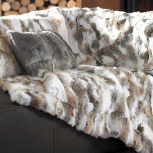 Natural Luxury 100% Real Rabbit Fur Throw Bedspread Blanket Carpet 55inx63in