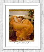 Framed Art Print Flaming June by Lord Leighton Pre Raphaelite Painting 026