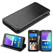 For Samsung GALAXY J3 Emerge J327P Leather Flip Wallet Case Cover Pouch BLACK