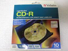 Verbatim LightScribe CD-R 10 Disc Pack 80 Min/700 MB/52X Speed - New