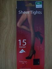 ladies sheer tights  by pretty legs  15 denier m/l nearly black new in box