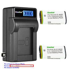 Kastar Battery LCD Wall Charger for Kodak KLIC8000 Kodak Pocket Video Camera ZX1