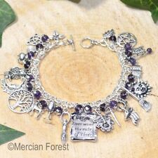Rule of Three Wiccan Charm Bracelet - Amethyst - Pagan Jewellery, Wicca, Witch